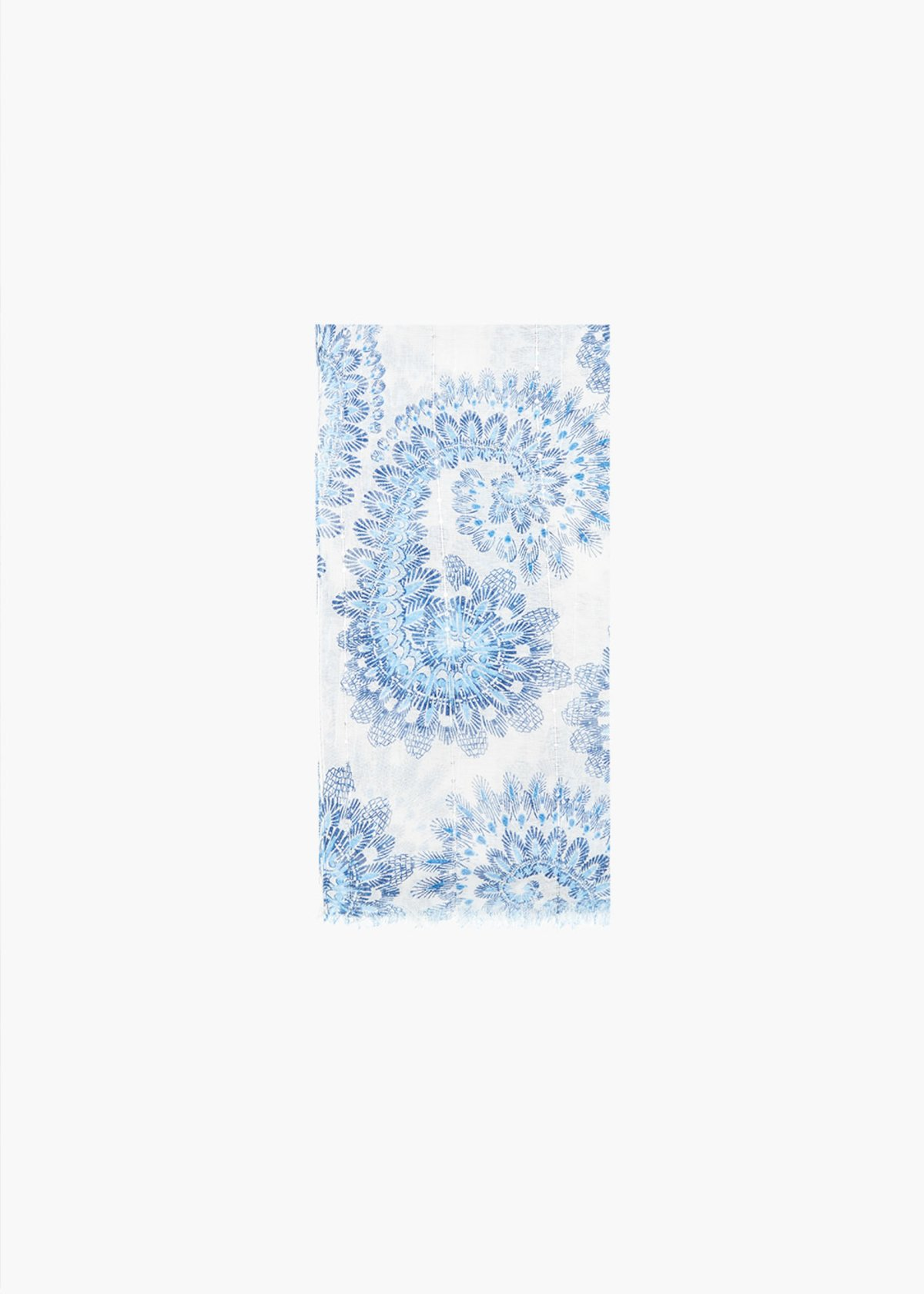 Shirly cashmere print scarf - White Fantasia - Woman