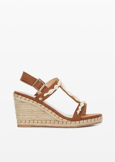 Sciama microfibre and straw wedge sandals