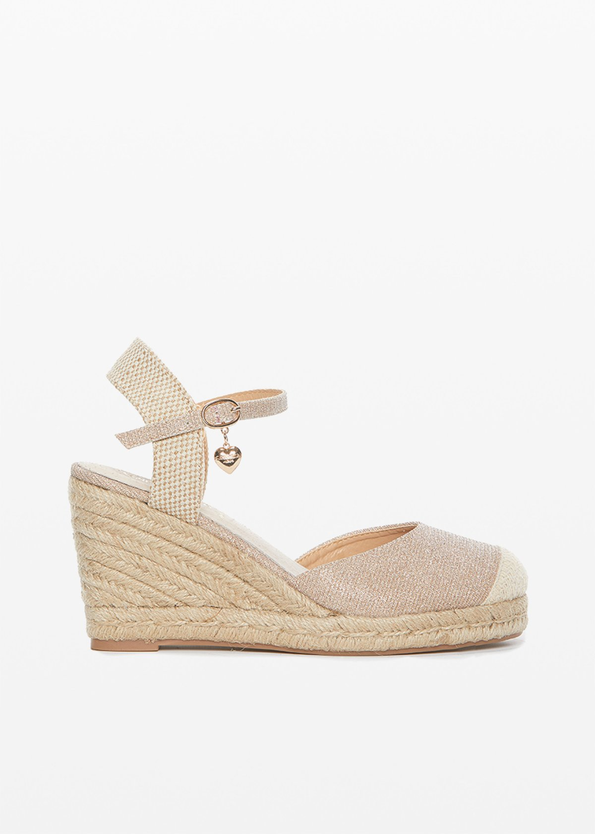 Sery glitter effect closed sandals with wedge - Doeskin - Woman