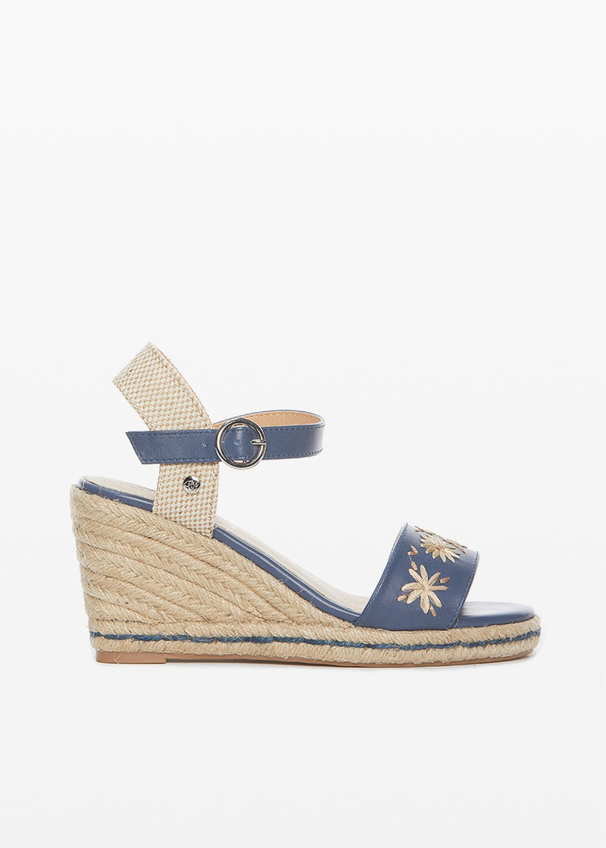 Faux leather and straw Saint sandals with flowers detail - Blue - Woman