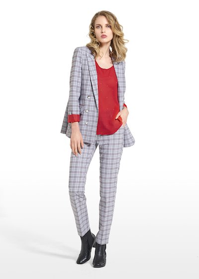 Jacket Gaia with revers in Prince of Wales fabric