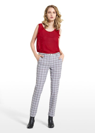 Slim leg pants Paride in Prince of Wales fabric