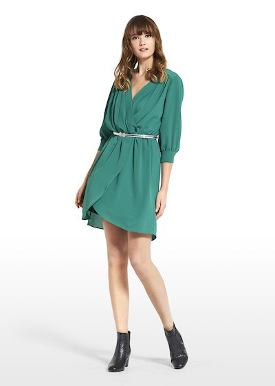 Dress in crêpe Andrea with 7 8 sleeves 6686b7e3edf