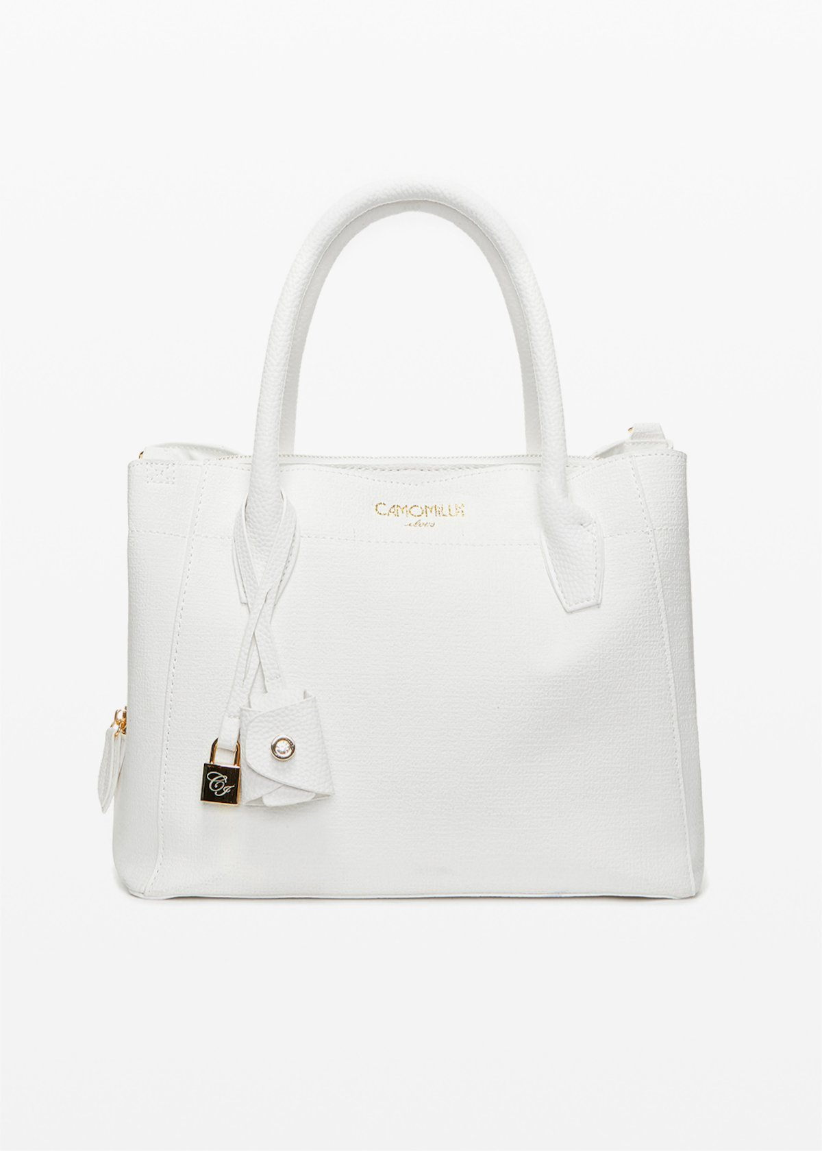 Bruna Bag with gold eyelet detail - White - Woman - Category image