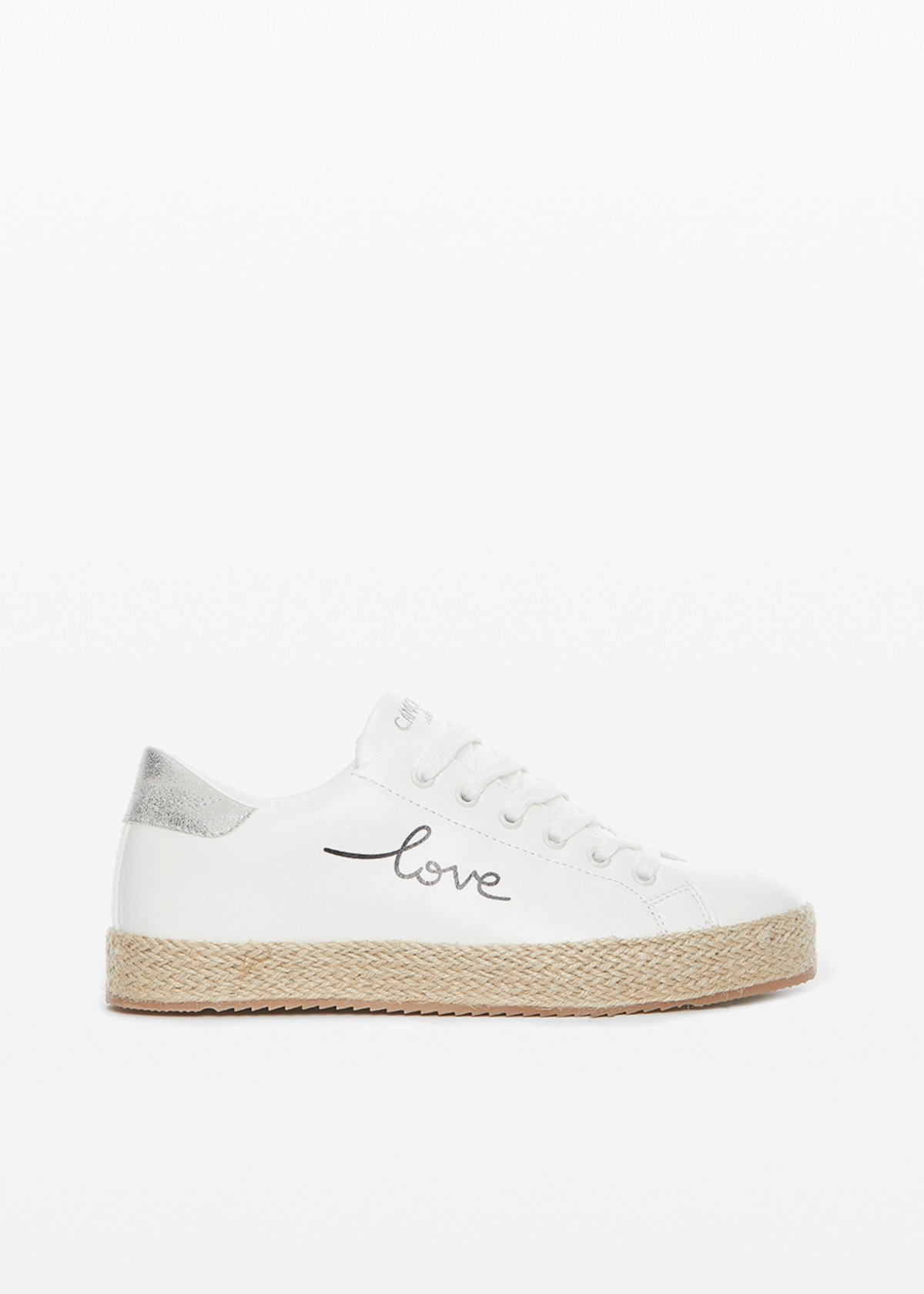 "Plain faux leather Sashi sneakers with ""Love you"" lettering print - White - Woman"