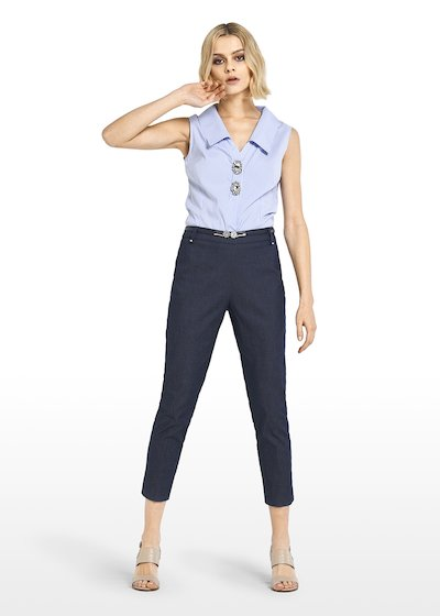Preston denim Capri trousers with rhinestone details