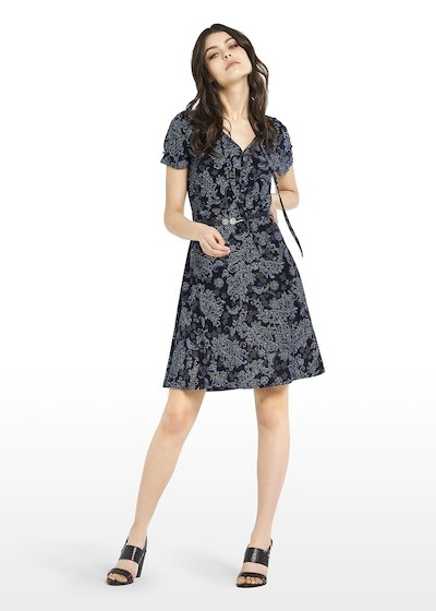 Jersey Afry dress Paisley pattern with bow