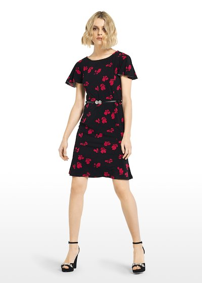 Alek jersey dress micro-flowers pattern with boat neckline