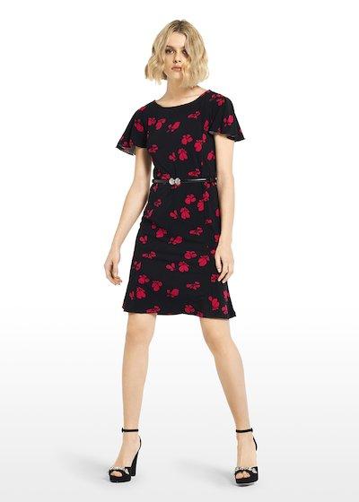 Alek jersey dress micro-flowers pattern with boat neckline