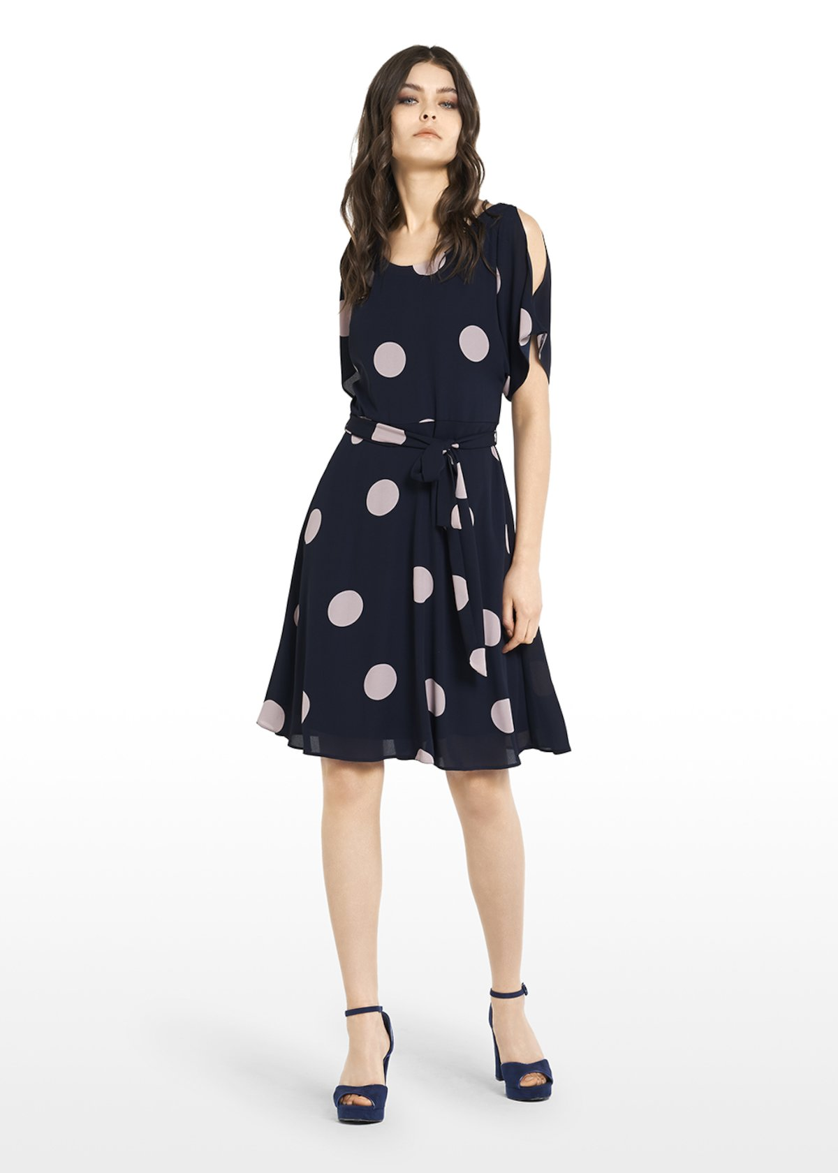 Alis dress with boat neckline and macro polka dots print - Medium Blue /  Oca Pois - Woman