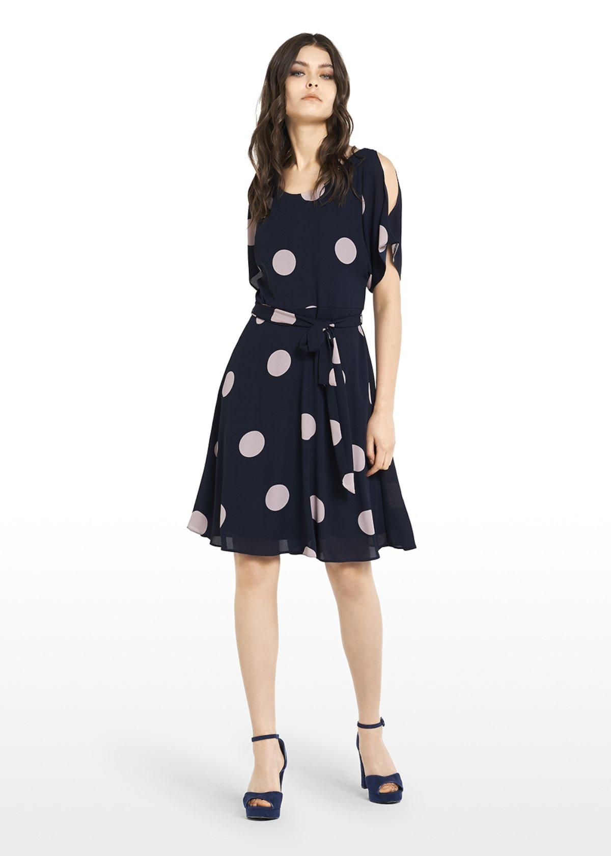 Alis dress with boat neckline and macro polka dots print - Medium Blue /  Oca Pois - Woman