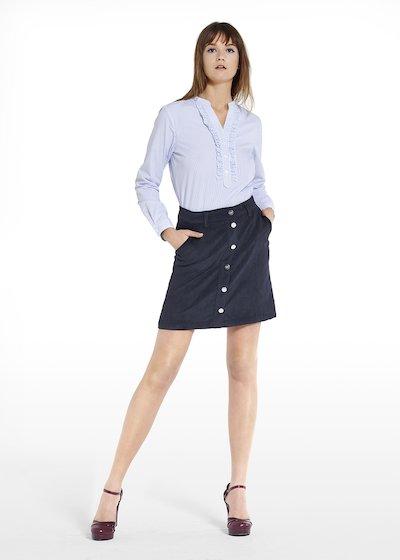 Camicia Carlotta stripes fantasy con rouches al fintone