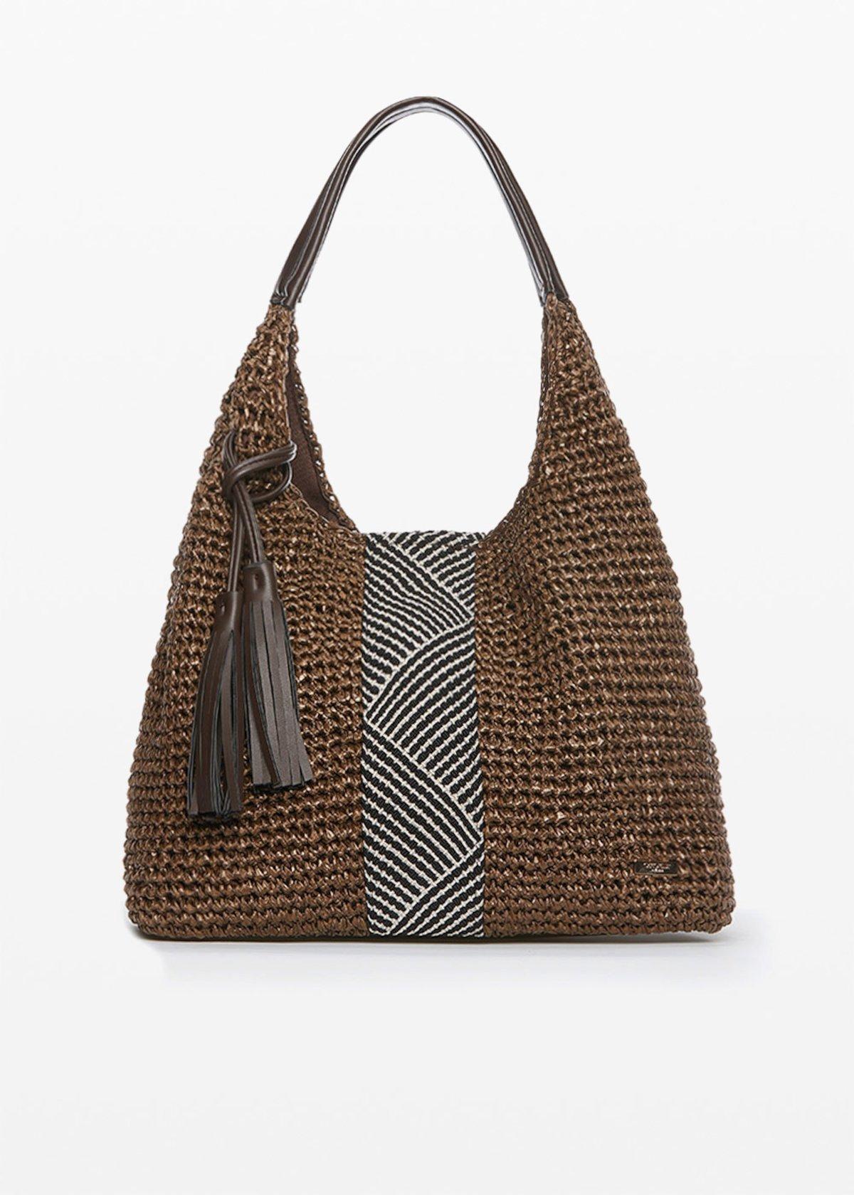 Hobo bag Blonde in paglia con decoro ethno - Terra - Donna