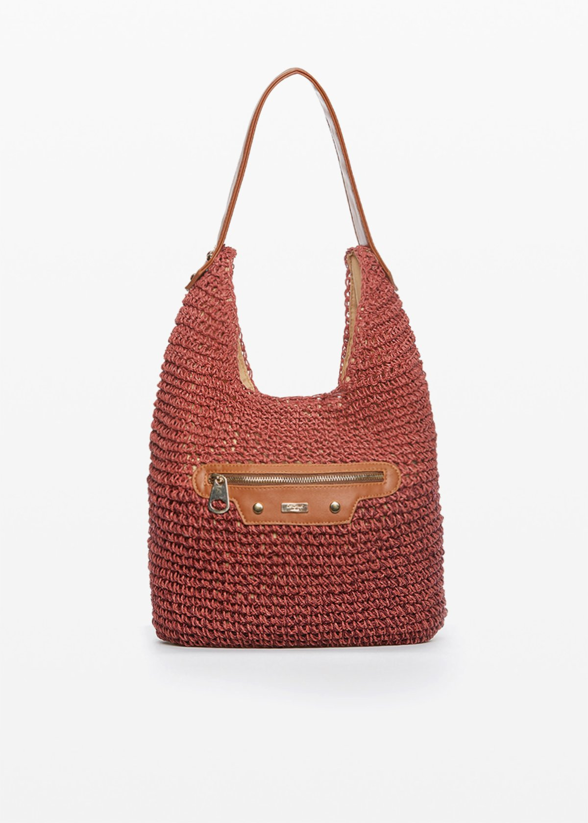 Bicolor Woven Straw Hobo Bag Broken - Morello - Woman