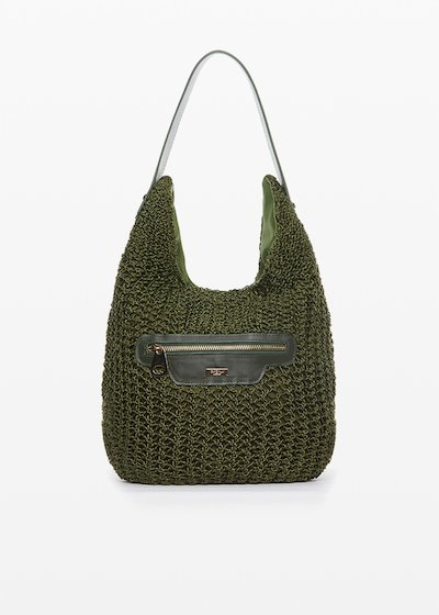 Hobo bag Brokes intertwined with inserts and pocket in eco-leather