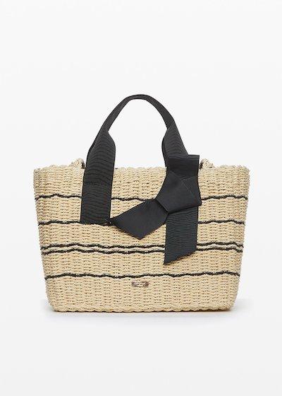 Straw Bag Badly with ribbon handles