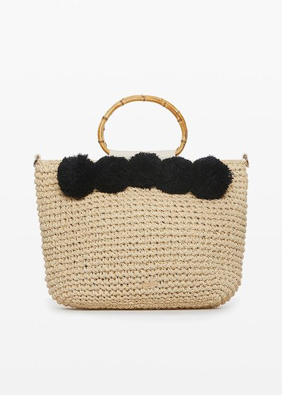 Straw Bag Benje with pompom decoration