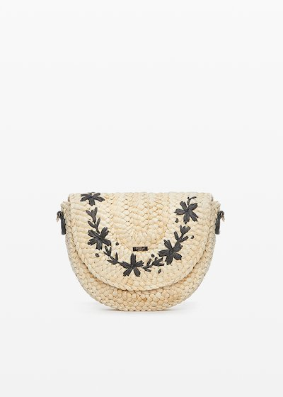 Bjork shoulder bag in straw with flower embroidery on the front