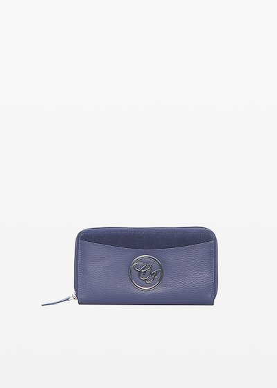 Leather and suede Peony wallet