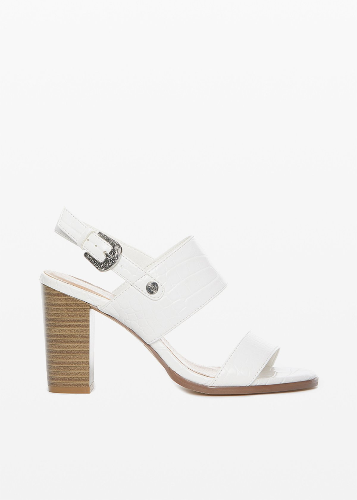 Shayla faux leather sandal crocodile effect - White - Woman
