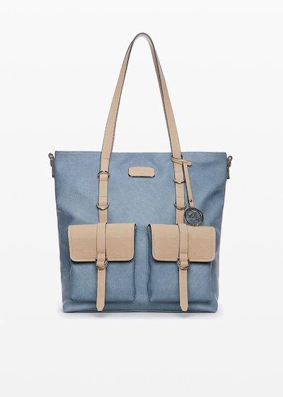 Bella faux leather bi-colour handbag with pockets