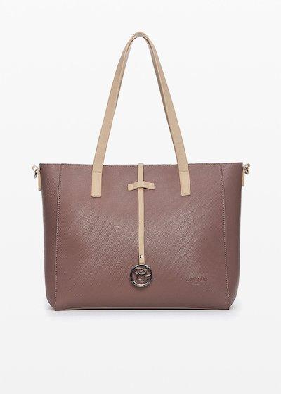 Shopping bag  Brigitta bicolor in ecopelle con charm logato sul davanti