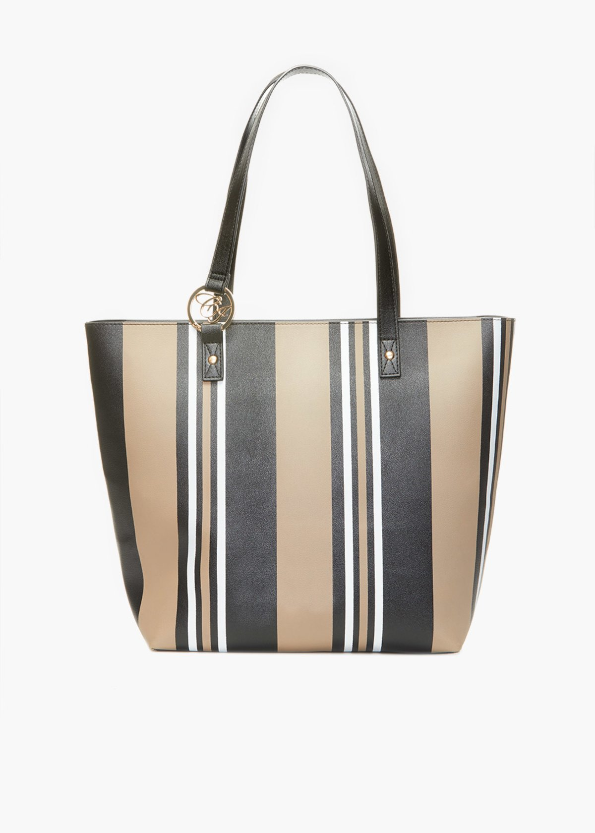 Beverly handles bag with stripes print - Doeskin Stripes - Woman