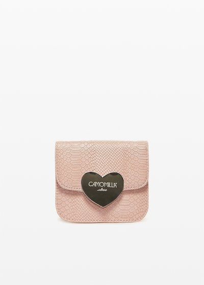 Blassy clutch bag with love closure