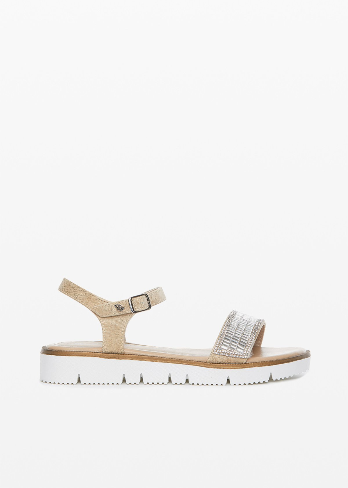 Shilin crystal detail low sandals - Light Beige - Woman