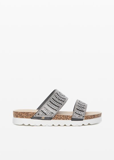 Shirl Flat Sandals with double strap and crystal-details