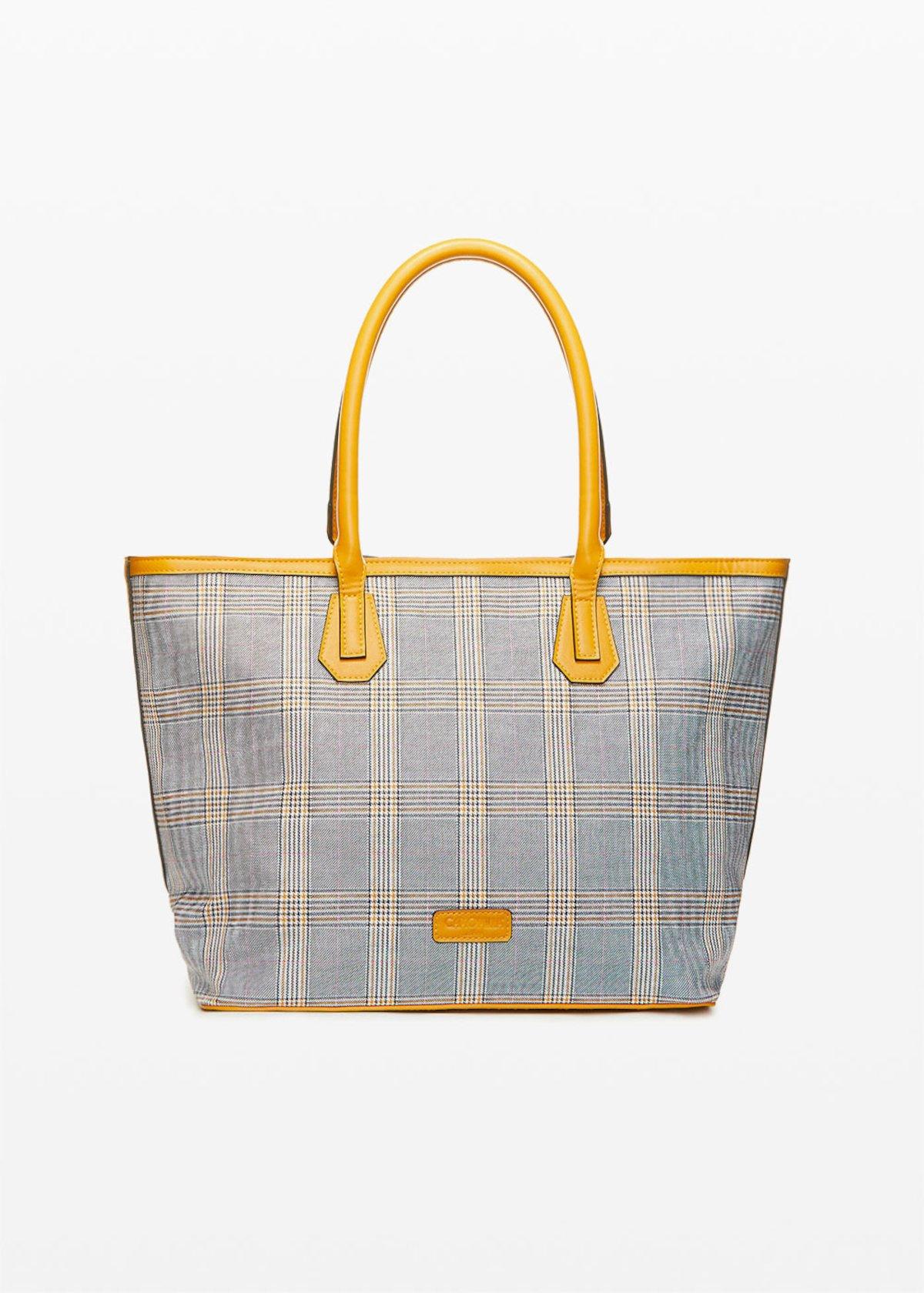 Bohemian Shopping bag check print - Brown - Woman