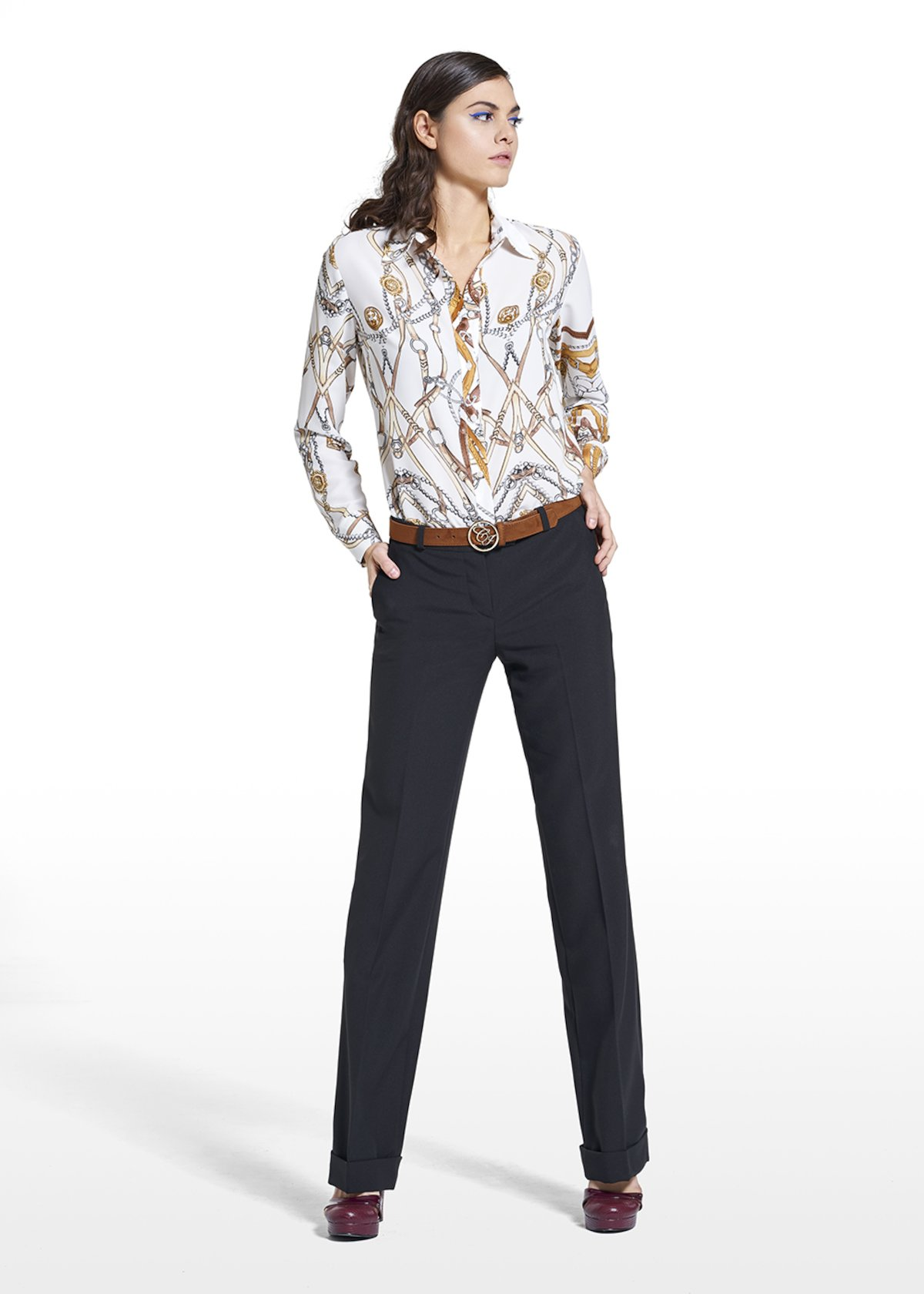 Patterned chains blouse Cecilia in georgette - White / Miele Fantasia - Woman