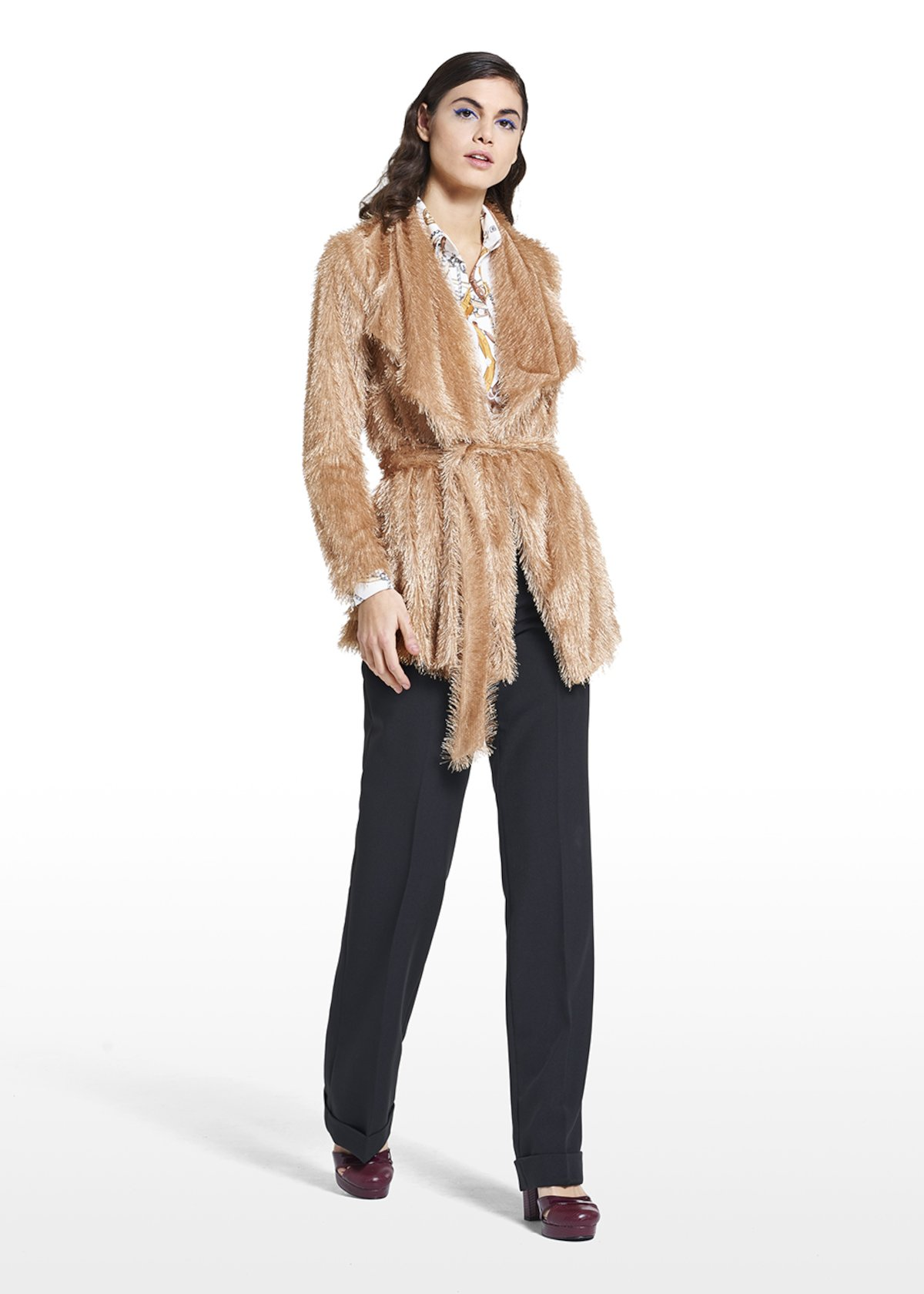 Eco-fur cardigan Conrad with belt - Light Beige - Woman