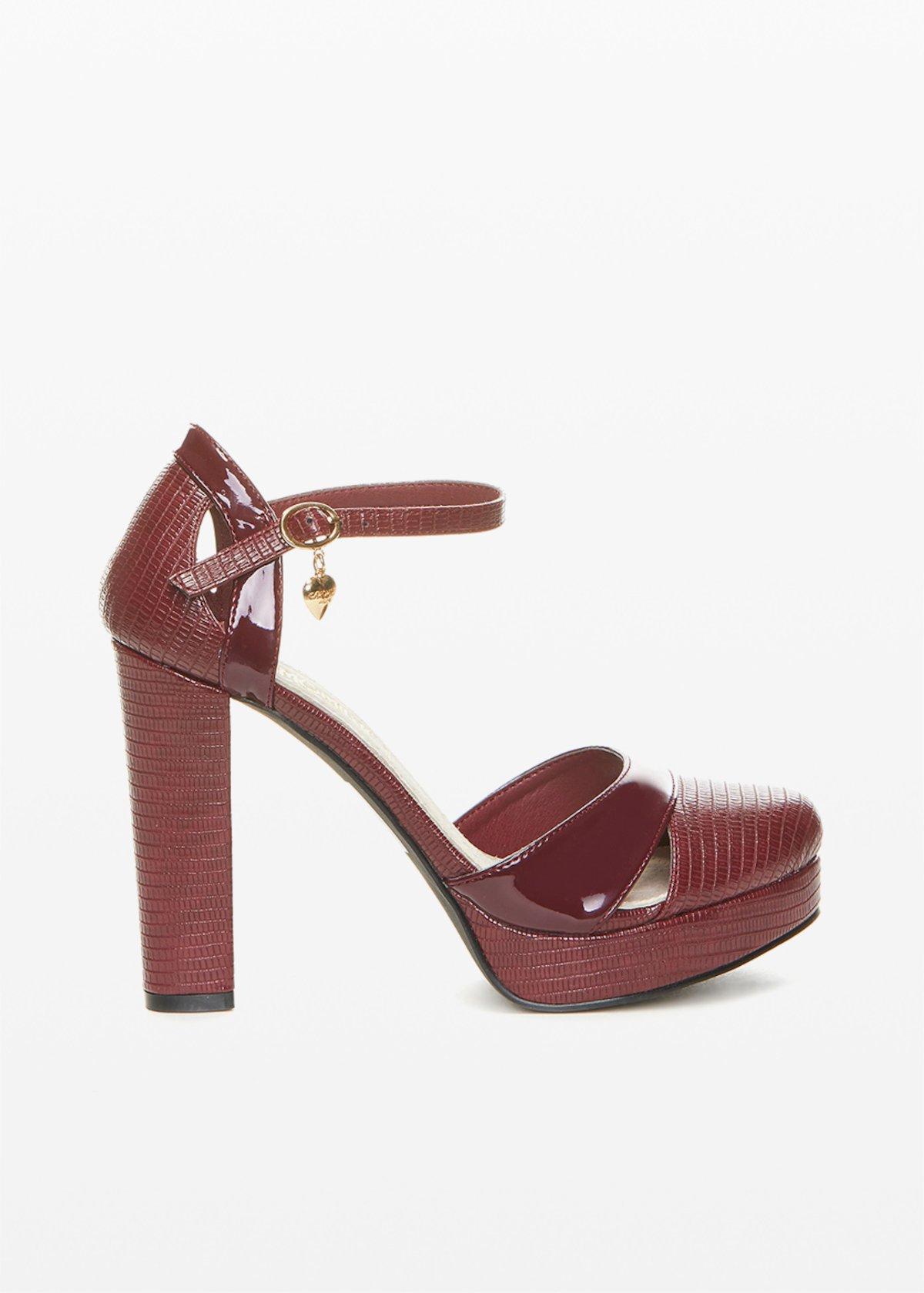 Sandalo Sophie effetto pitone e verniciato - Morello - Donna