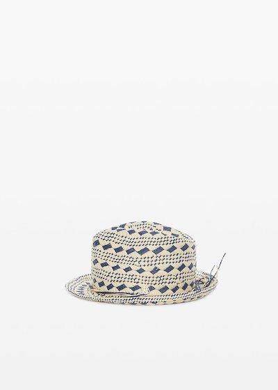 Cappello Cassis in paglia natural color con rombi avion