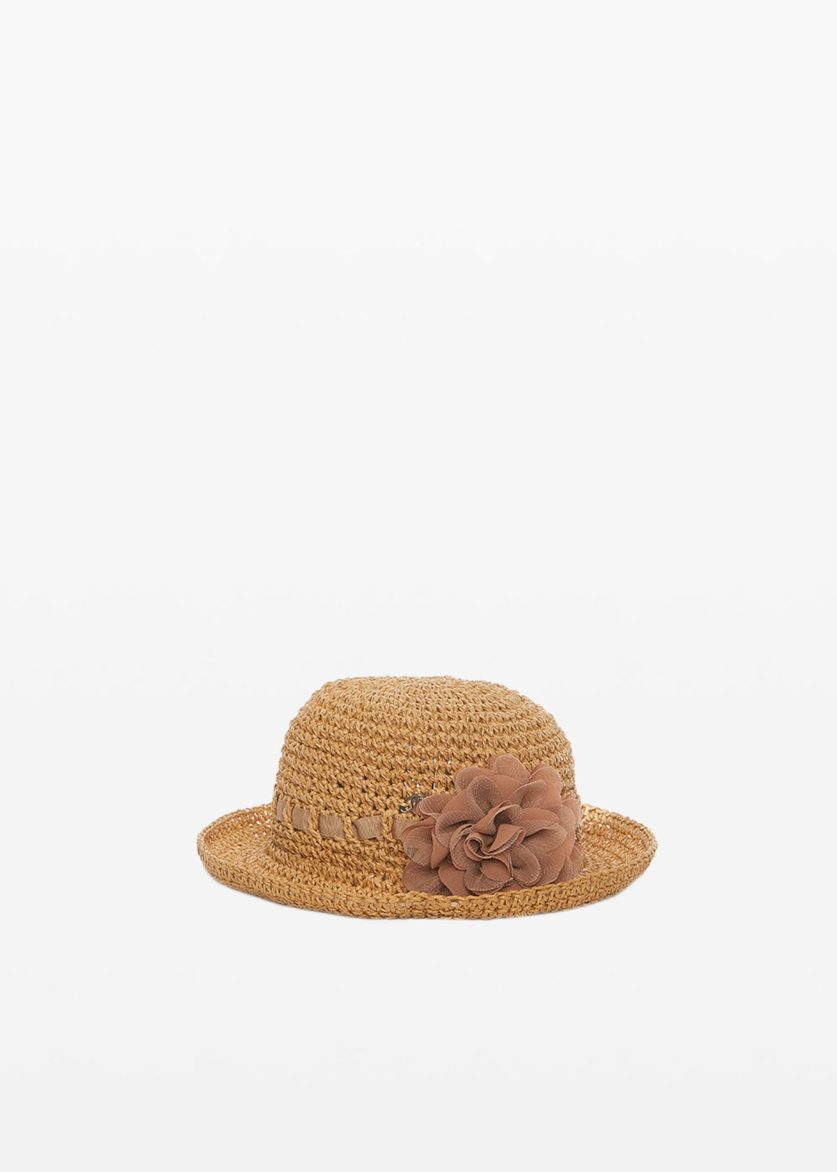 Claire straw hat with flower detail - Lion - Woman