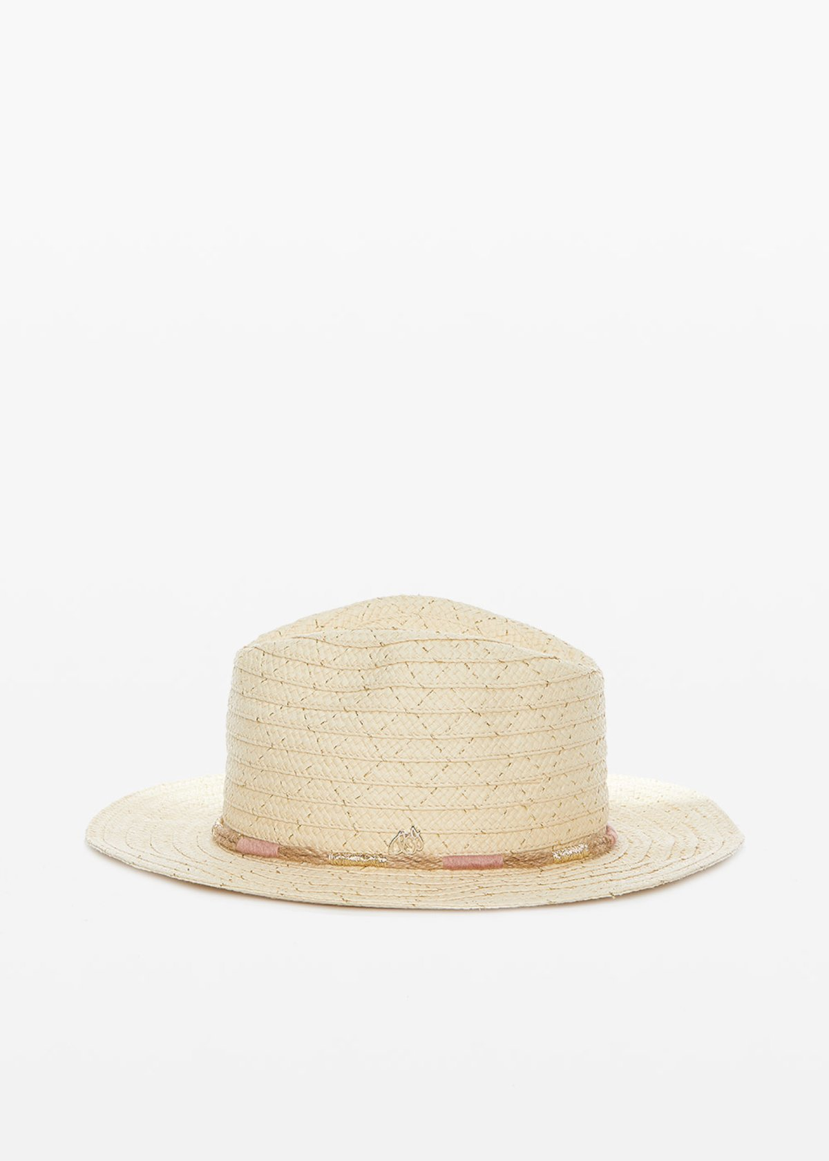 Ciber straw hat with drawstring detail - Light Beige /       Gold Fantasia - Woman