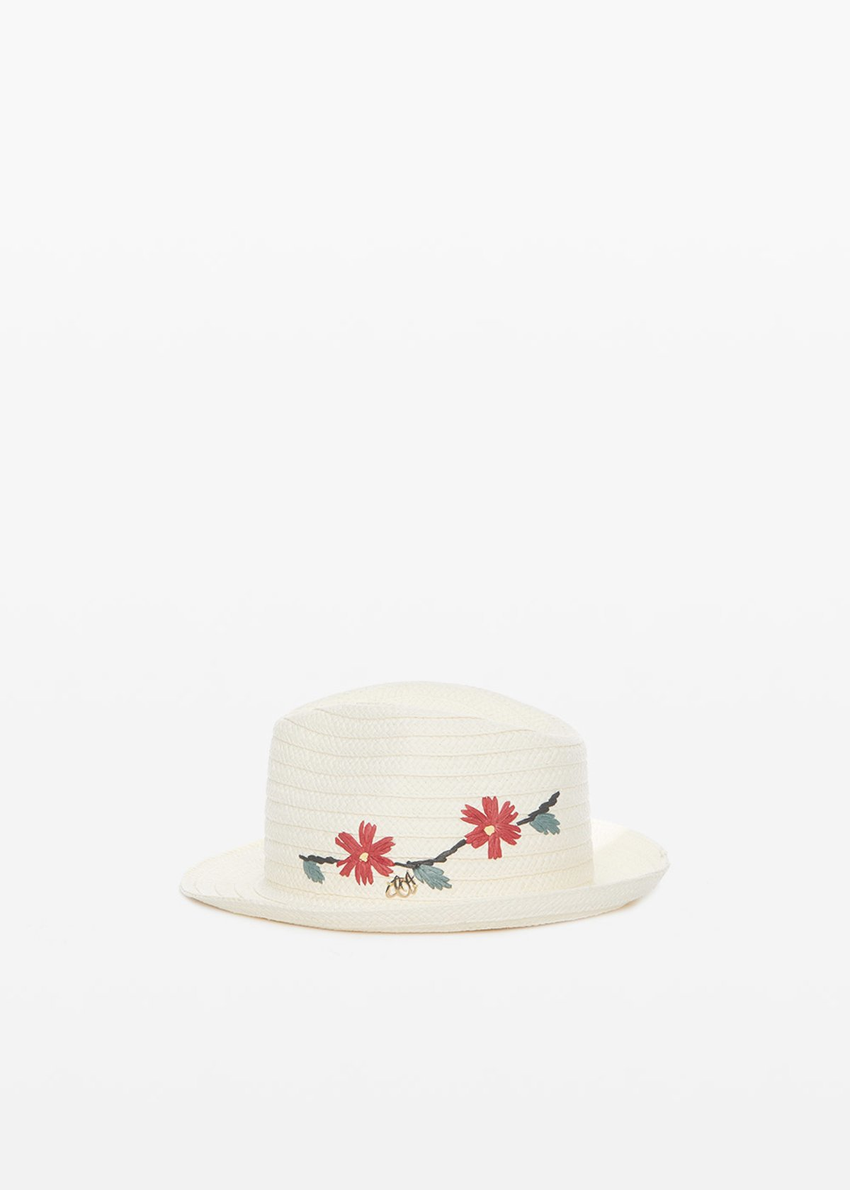 Clay straw hat with flowers embroidery - White Fantasia - Woman