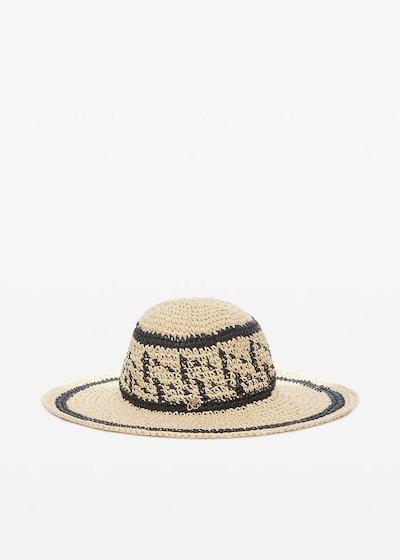 Cappello Crissy in paglia con decori a contrasto