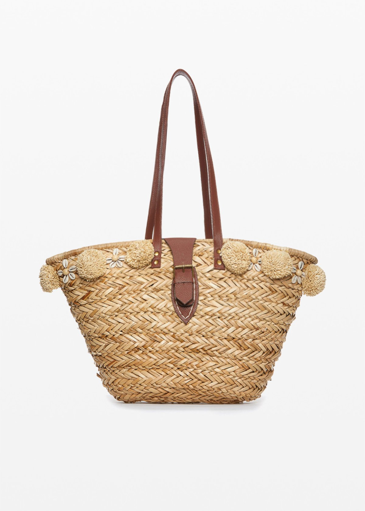 Marlie straw bag with pompon and shells details - Safari - Woman