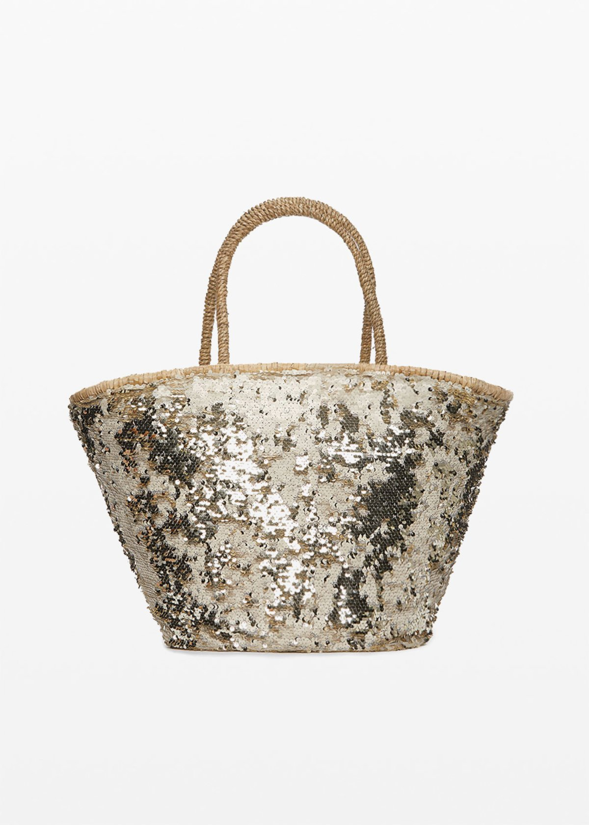 Muddy Straw bag with sequins - Light Beige - Woman