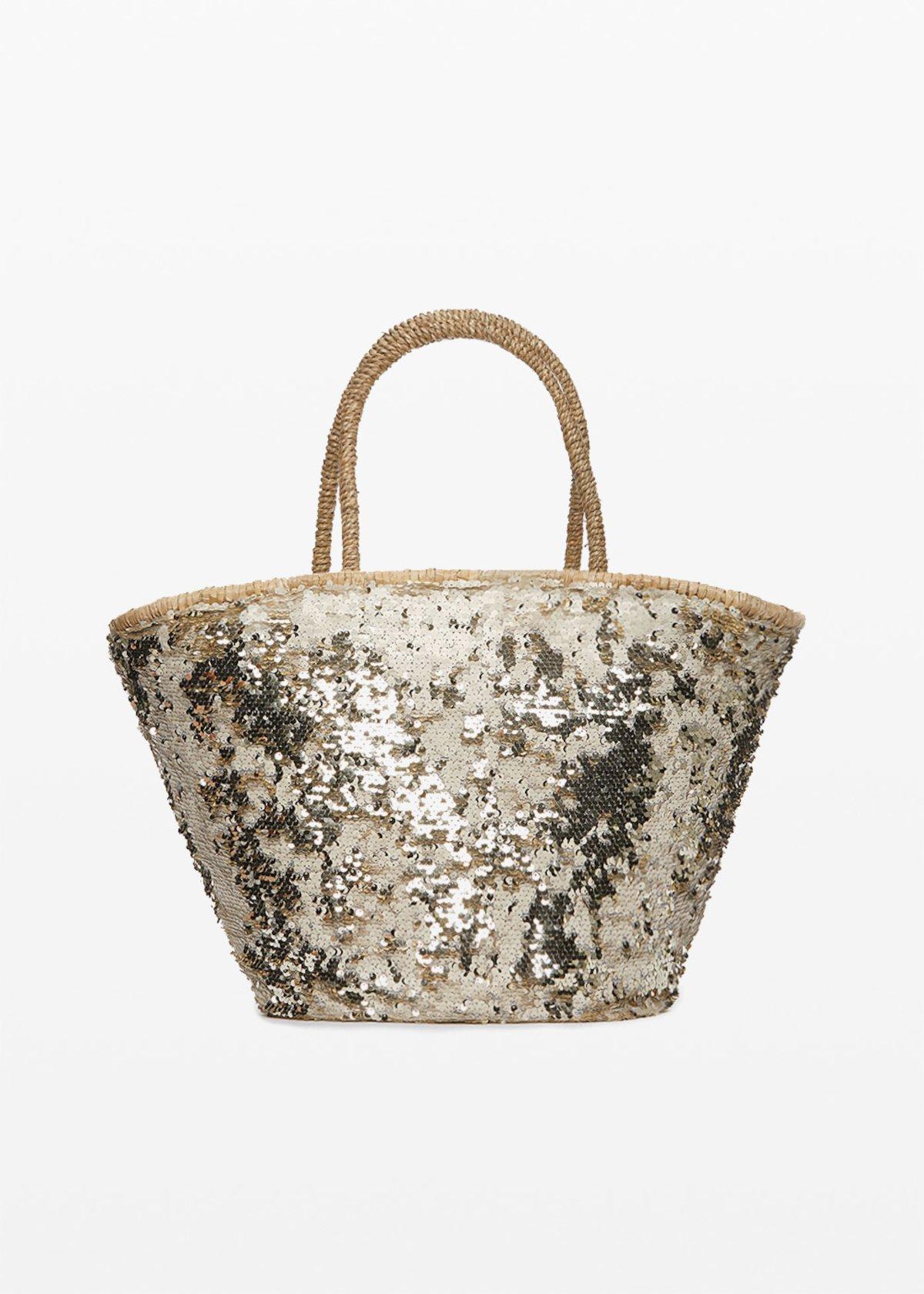 Borsa in paglia Muddy dal decoro paillettes - Light Beige - Donna - Immagine categoria