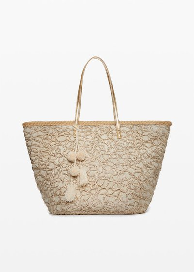 Mawan Straw bag of lurex fabric basket and pompons