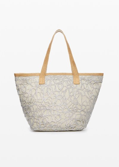 Mamdy bag of straw and fabric with lurex basket