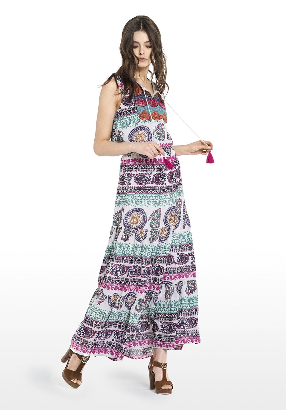 Sleeveless Abel dress multicolour fantasy and small stones on the front - White\ Peonia\ Fantasia - Woman