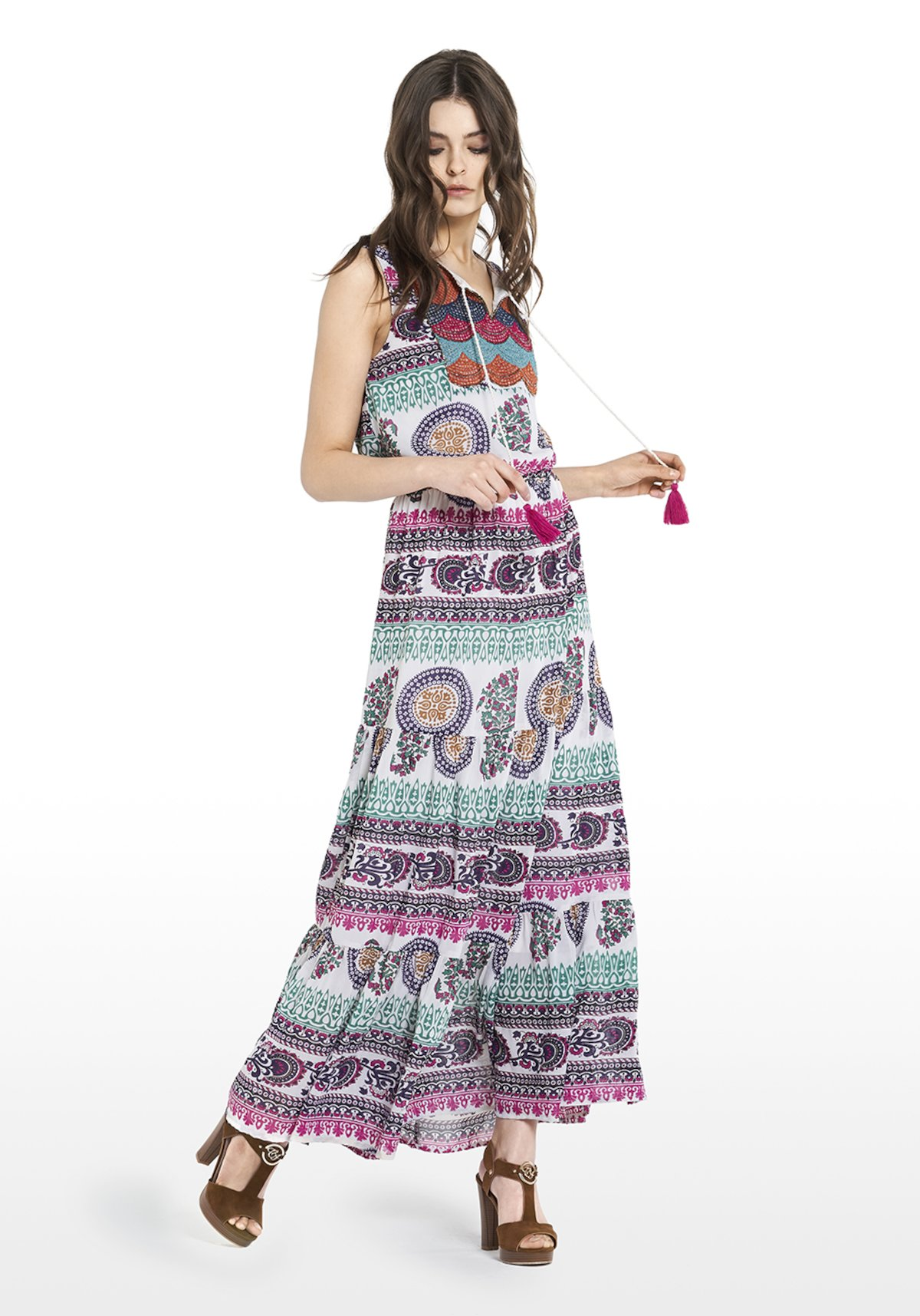 Abel dress multicolour fantasy and bib with embroidered thread and french wire