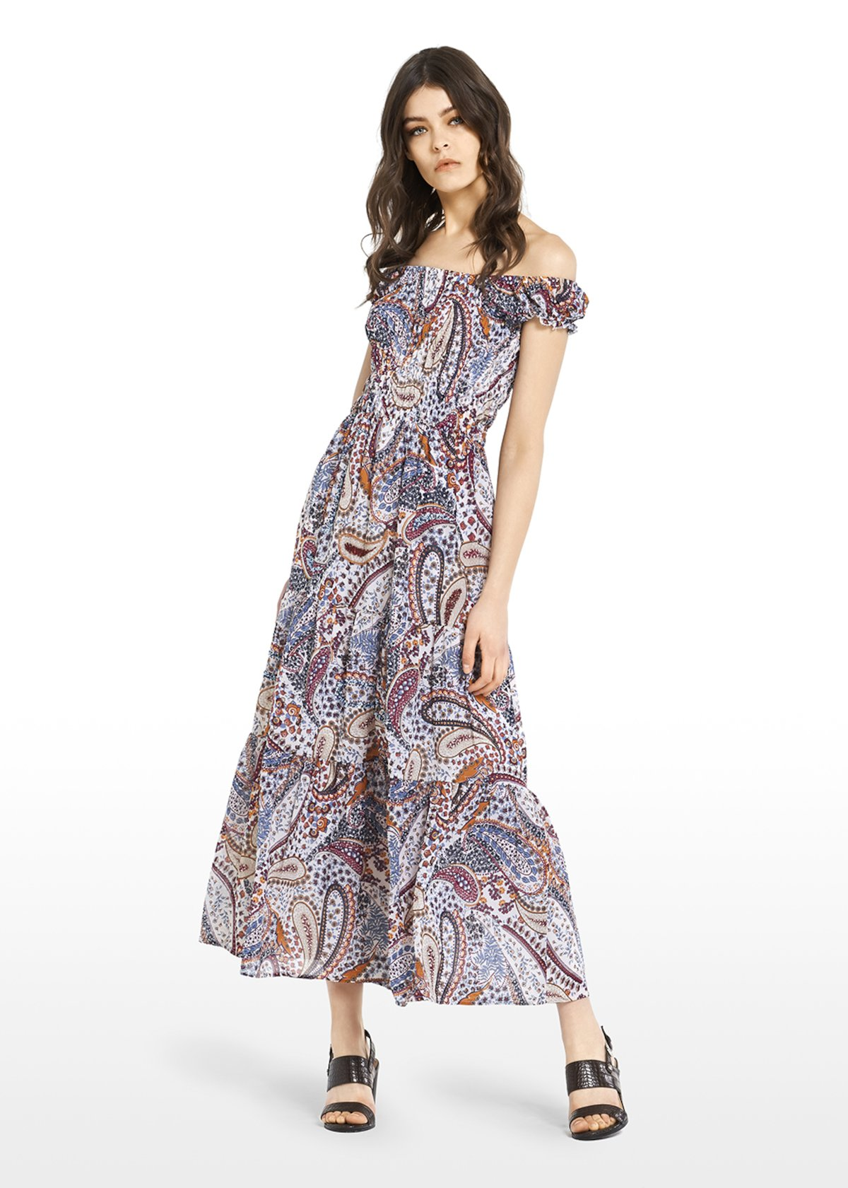 Alyson georgette dress with smock stitching and embroidery - White\ Morello\ Fantasia - Woman