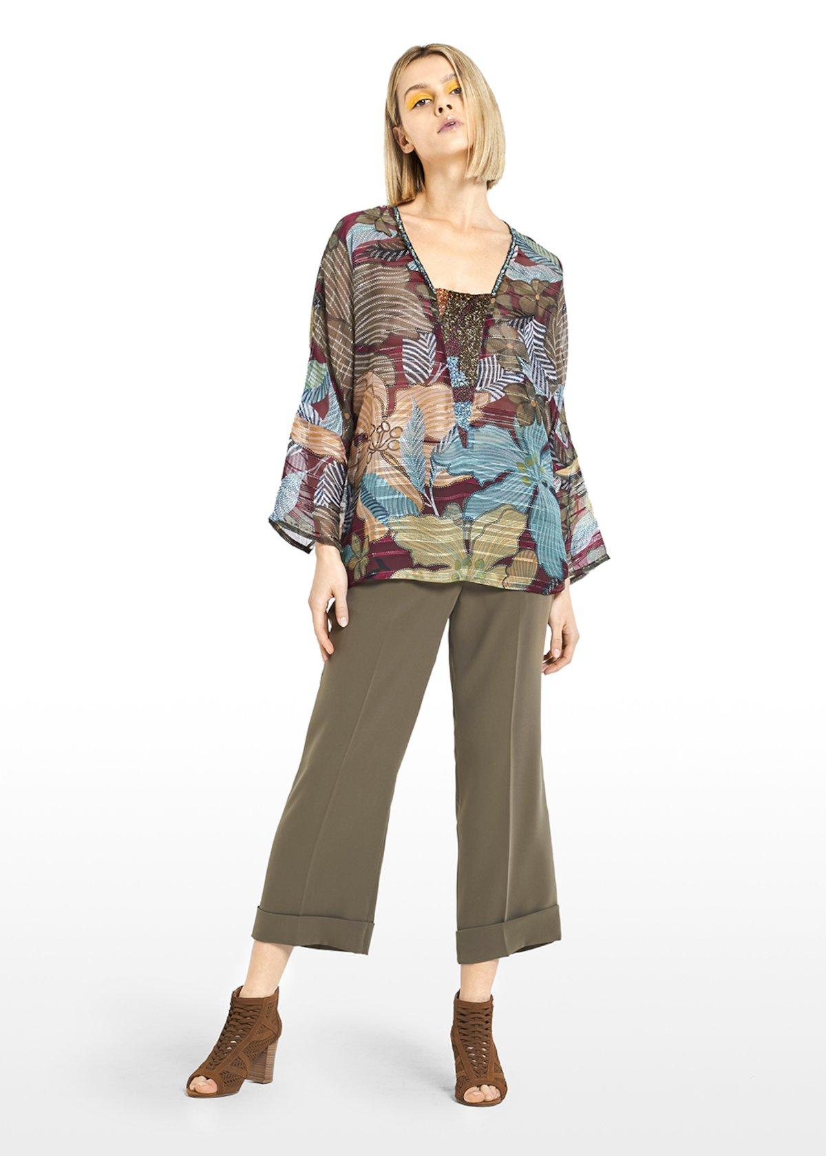 Cristel georgette blouse embroidered at the neck - Alga\ Morello\ Fantasia - Woman