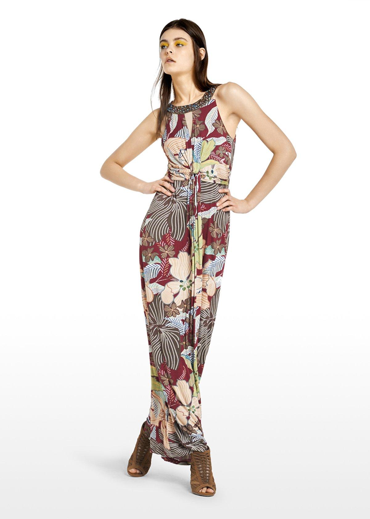 Akbaslar long dress ethnic flowers pattern - Alga\ Morello\ Fantasia - Woman