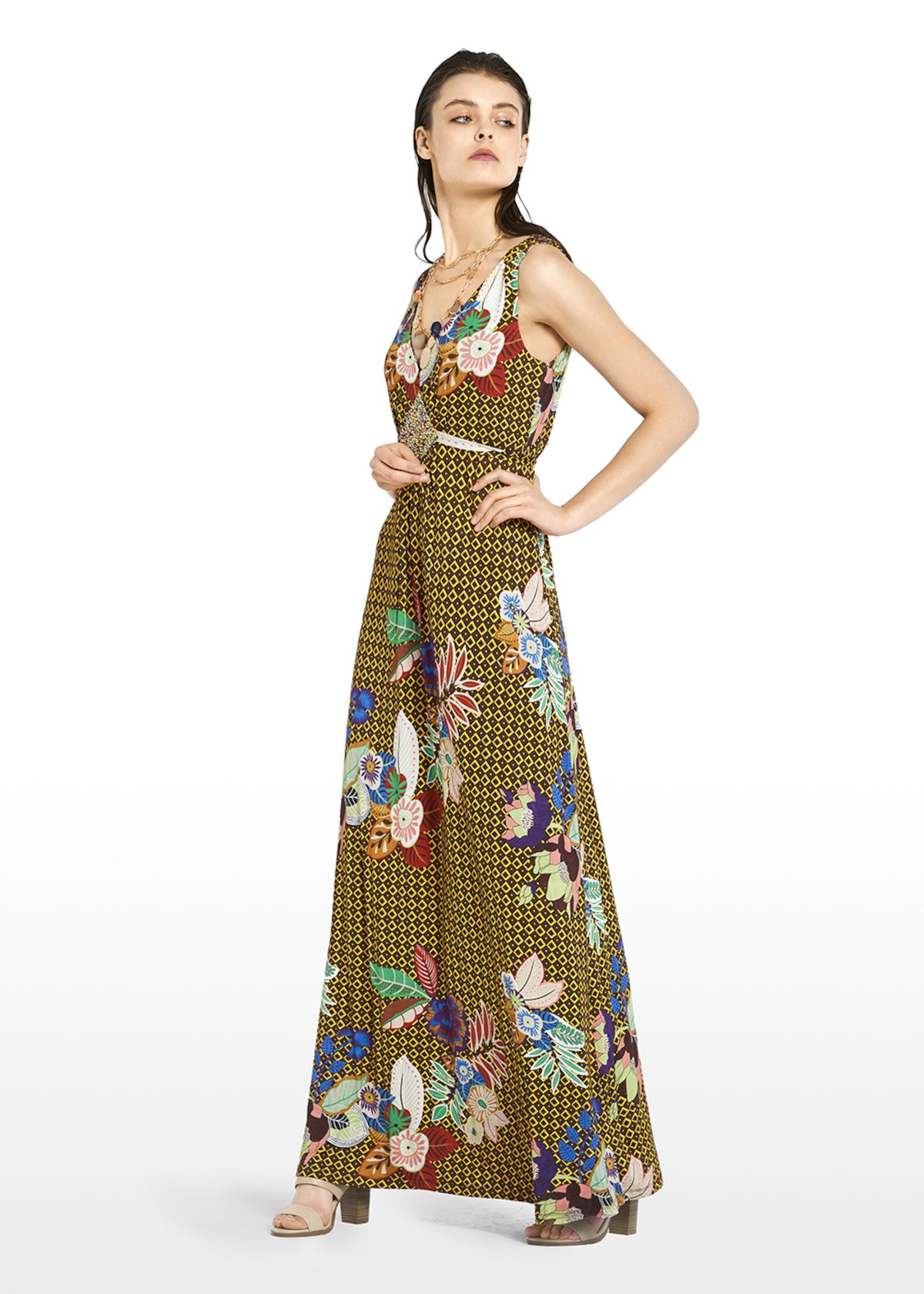 All-over printed Andys long dress with V-neck - Alga\ Morello\ Fantasia - Woman